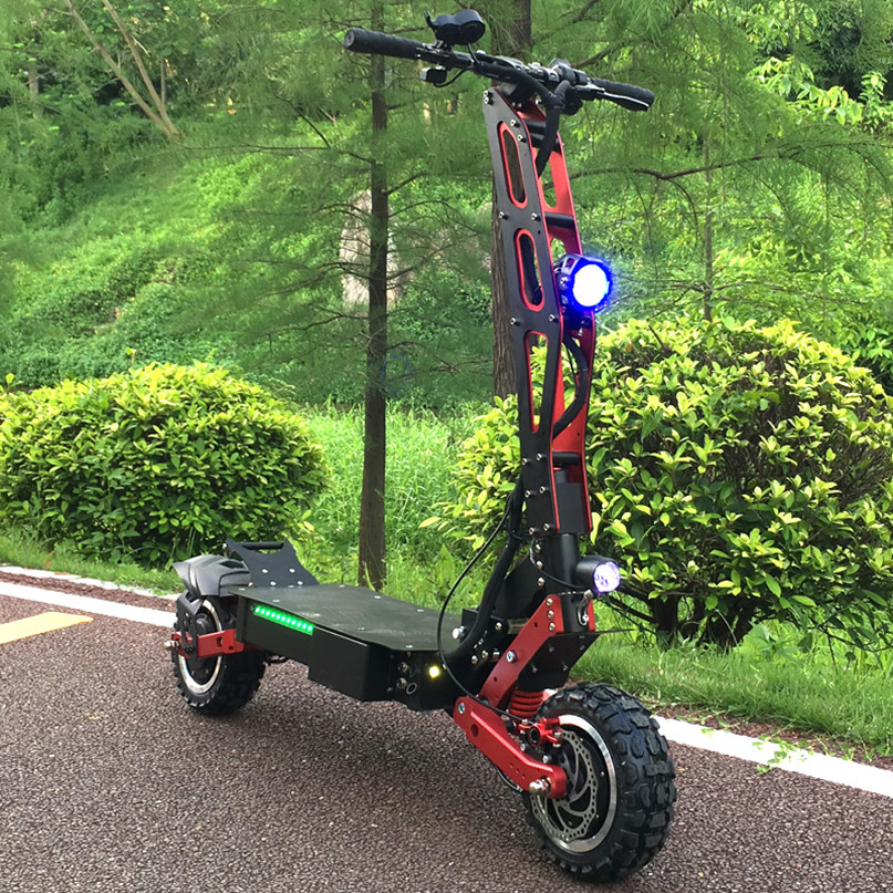 2019 FLJ New Arrival electric scooter 11inch 5600W Dual Motors Electric Scooter adults, Black+red