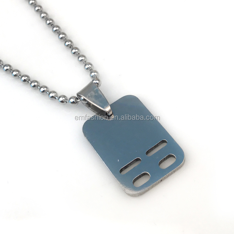 Wholesale Fashion Cheap Gold Silver Gun Metal Plain Boy Stainless Steel Pendant Necklace