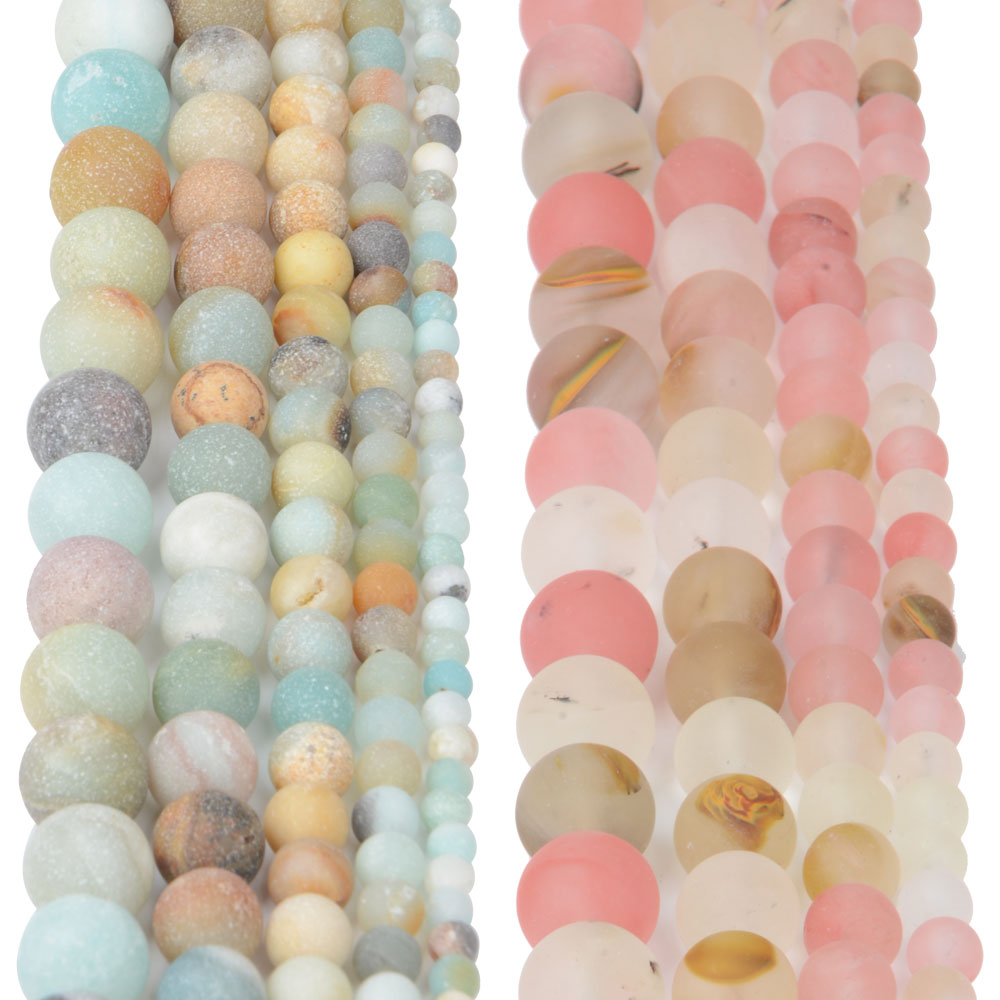 New Frosted Natural Stone Amazonite Beads String