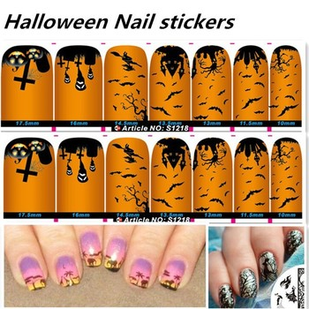 Wholesale Halloween decals nail foil nail charms OEM customized Nail art sticker