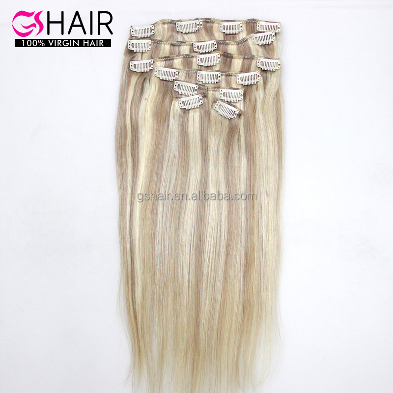 Fashion hairstyle for black women piano color #P18/613 remy brazilian clip in hair