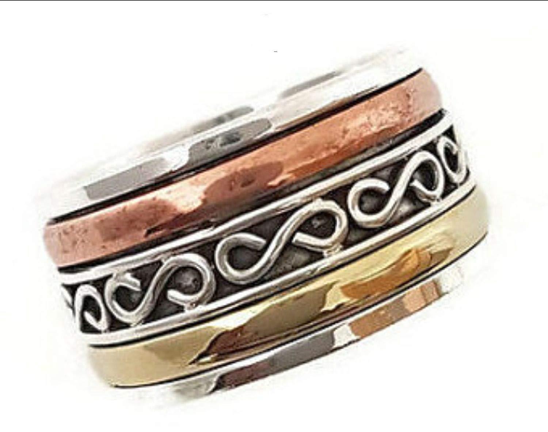 JewelsExporter Sterling Silver Ring.Spinning Ring,Opal Spinner Ring, Meditation Ring, Spin Ring, Worry Ring, Multistone Ring, Prayer Ring 11US