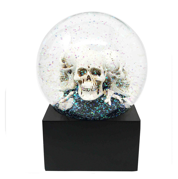 Collectible Skull Heads Bone Figurine Horror Water Globe with Led Light