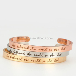 She believed she could so she did engraved 6mm width stainless steel cuff bracelet custom cheap thin gold bangle