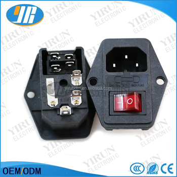 10A 250V Inlet Module Plug Fuse Switch Male Power Socket 3 Pin IEC320 C14 for game machine parts