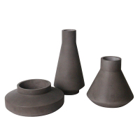 Dark grey antique large ceramic vases