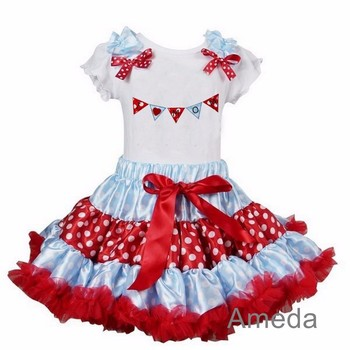 Red Blue Polka Dots Pettiskirt with I Love MOM White Short Sleeves Tee