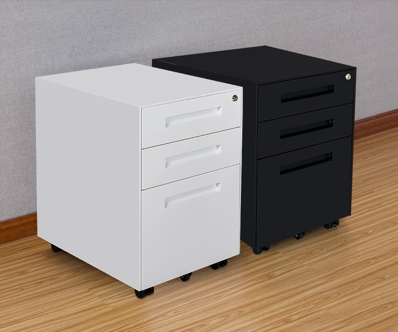 Hot 3 Drawer Movable Pedestal Under Desk File Cabinet With Wheels Mobile Steel Filing Locking