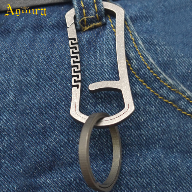 Titanium Alloy Combination Grey Color Keychain Hanging Buckle Fast Hanging TC4 Senior Gift EDC Multi Tools