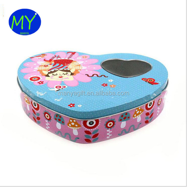 Modern Design Large Heart Shaped Tin Boxes Wholesale With Heart Window For  Candy Packing