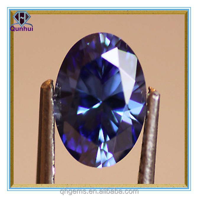 Hot Sale Oval shaped sapphire blue cz stone