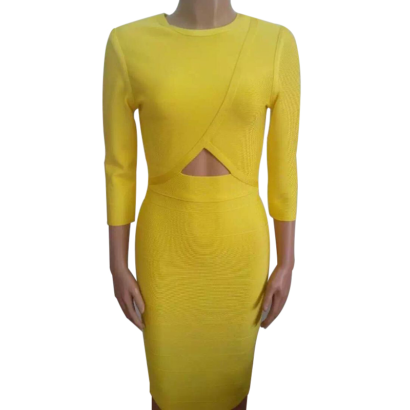 New Arrival 2015 Women Autumn Summer Style Bandage Dress Sexy Knee-Length Dresses Women Sheath O-Neck Nightclub Dresses B-DH1601