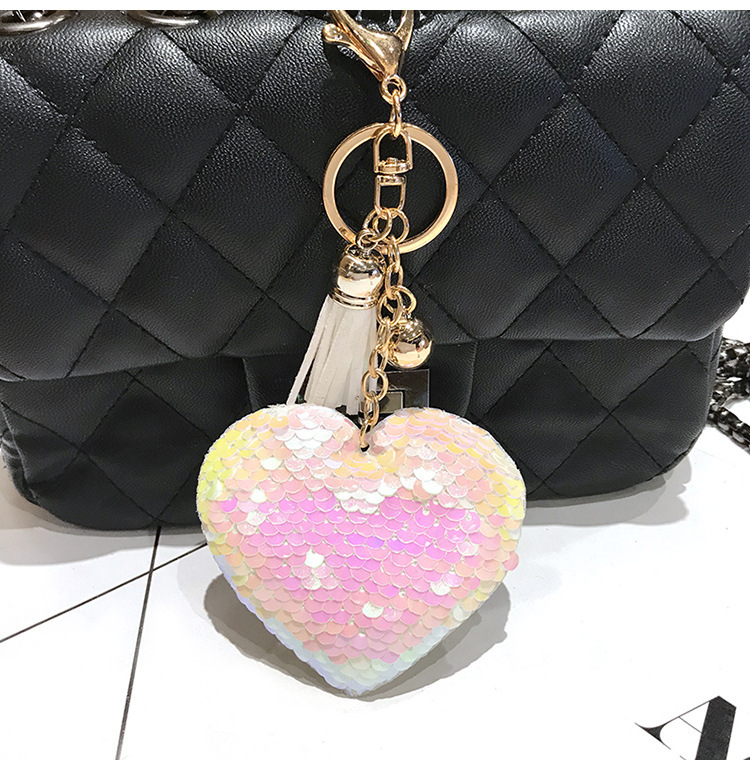 Promotion gift Sequin keychain for giveaway heart keychain love keychain