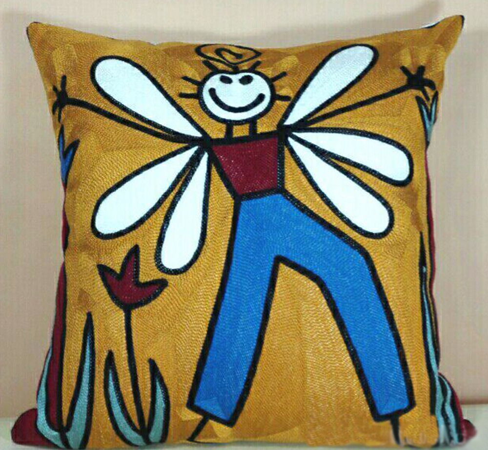 China suppliers high quality best quality picasso cushion cover applique work cushion cover chainstitch cushion covers