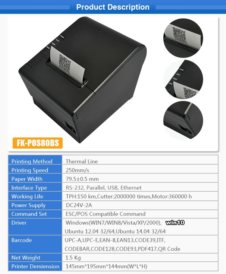 Pos System Favored Bluetooth Thermal Printer 4 Inch Paper Size Fk--pos80bs  - Buy Bluetooth Thermal Printer 4 Inch,Bluetooth Thermal Printer 4