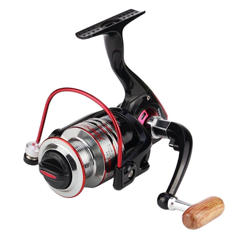 10+1BB saltwater fishing reels Full Metal Body Interchangeable Collapsible Handle Bass Bait Runner FISHING SPINNING REEL, Black+red