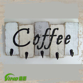 Wall Mount Wood Coffee Mug Rack Display Custom Printing Cup Holder With Hooks Antique Hanging Tea Decorative