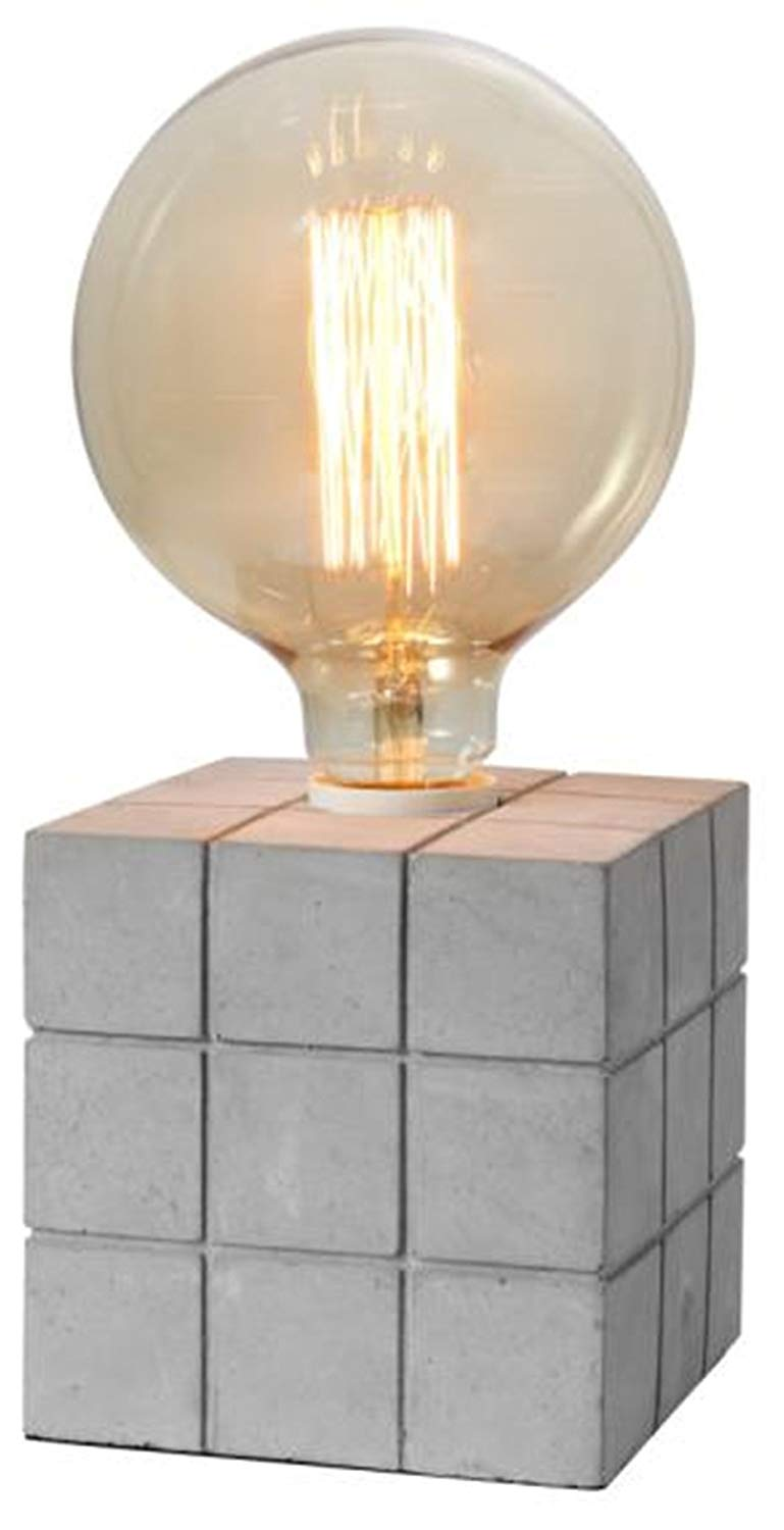 "Crystal Art 4.72""X4.72"" Concrete Finish Cement Table lamp"