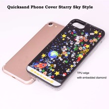 Quicksand Cover Hard Plastic Phone Case Soft TPU Edge with Embedded Diamond Border Liquid Phone Case for iPhone 7 7 plus