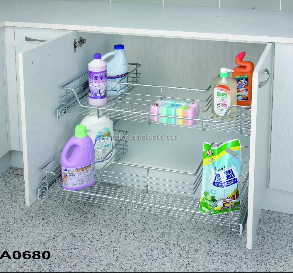 U - Shaped Under Sink Drawer, Pull Out with General Slide Cabinet Organizer