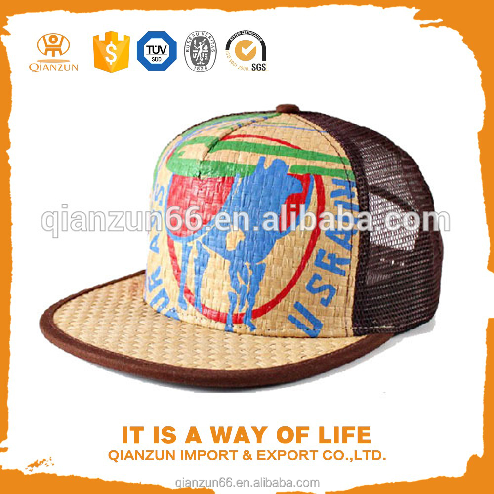 Custom Printed 5 Panel Mesh Back Straw Flat Bill Snapback Hats Caps