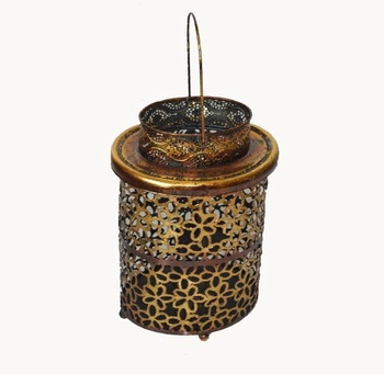 Antique bronzed hanging metal candle lantern