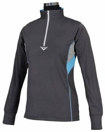 TuffRider Women's Neon Ventilated Mock Zip Long Sleeve Sport Shirt | Women Horse Riding Polo Shirt