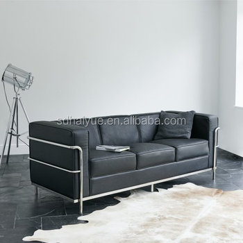 Le Corbusier Lc2 Sofa Leather Two Seater Factory Manufactured