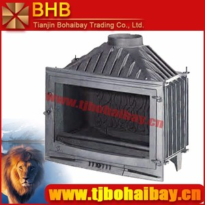 BHB Large wooden crate packed wood burning cast iron fireplace