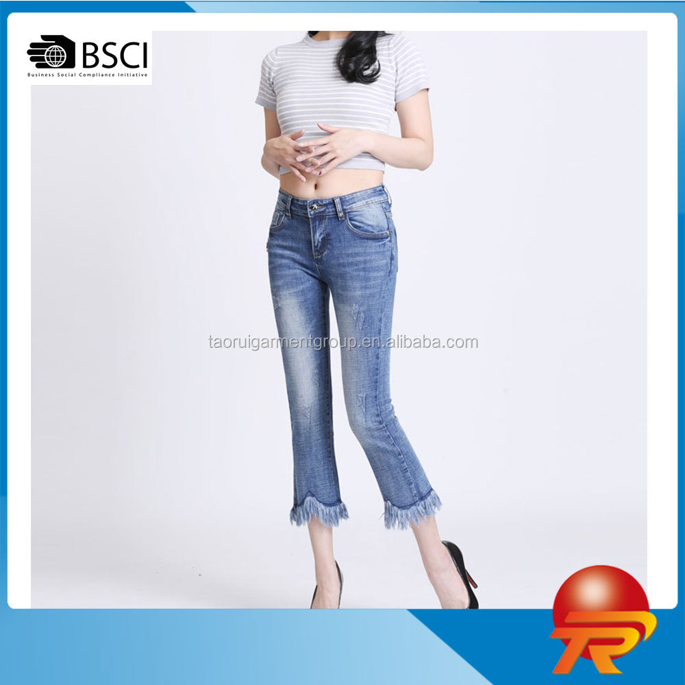 women's denim pants trousers washed slim fit waisted capri denim jeans TR 2-595