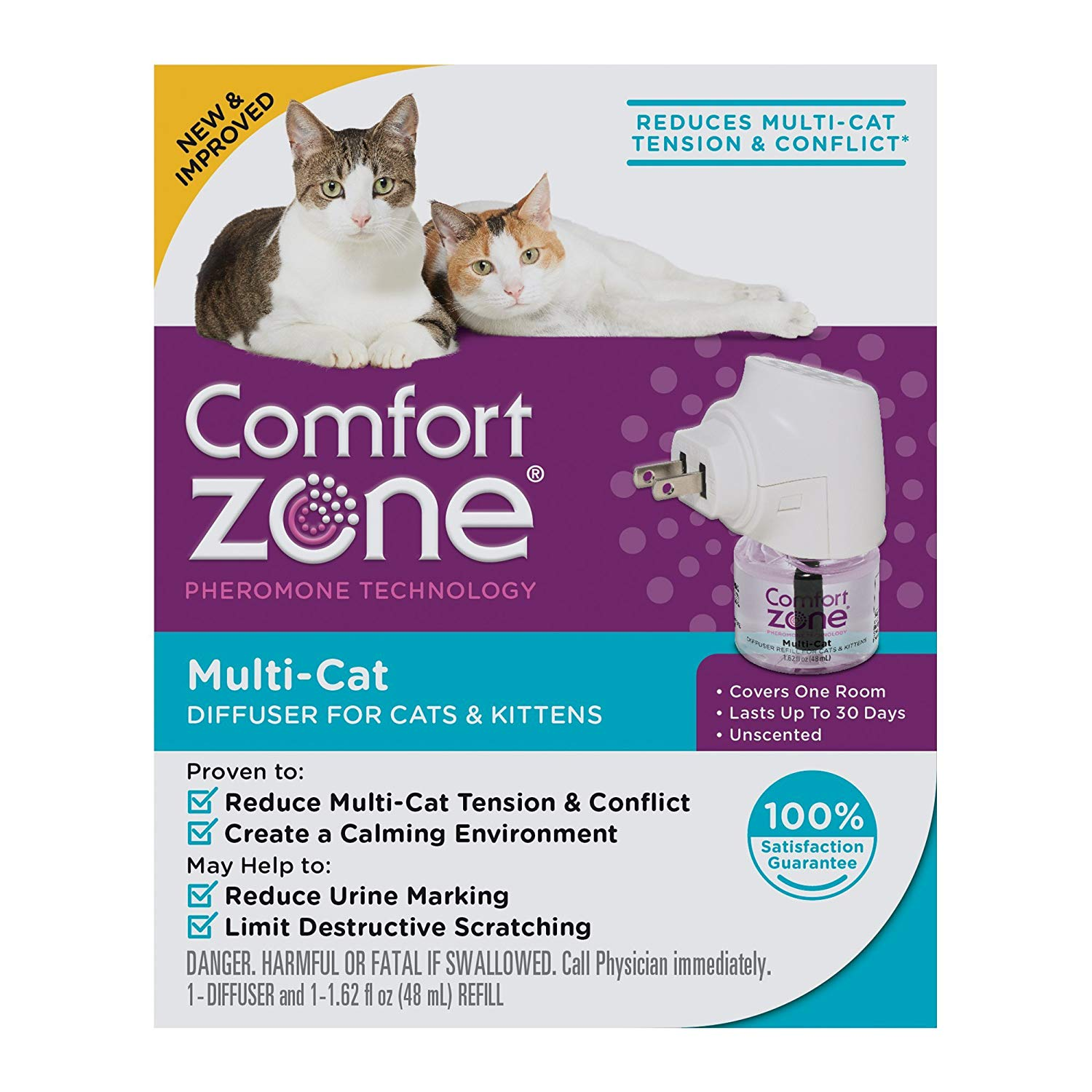 Comfort Zone 100526065 Multicat Calming Diffuser for Cats & Kittens
