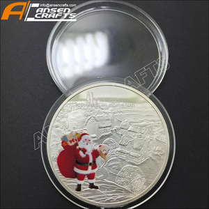 Santa & Reindeer Holiday Coin 1 Troy oz .999 Fine Silver Round Christmas Medal