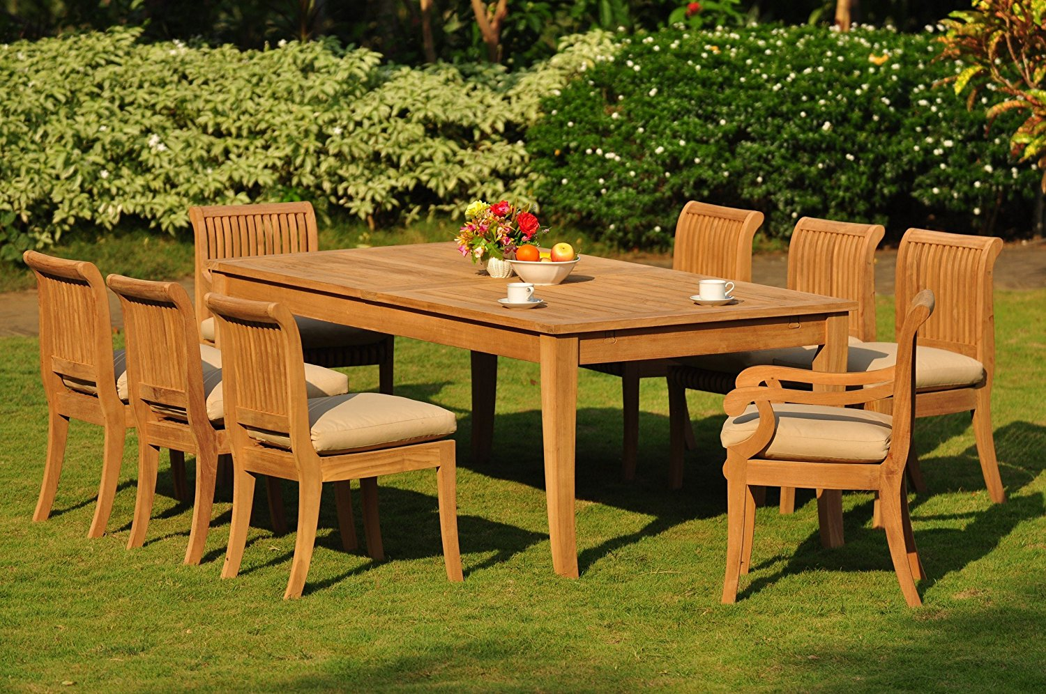 """TeakStation 8 Seater 9 Pc Grade-A Teak Wood Dining Set: Large Atnas 122"""" Dining Rectangle Table Table, 2 Arm and 6 Giva Armless Chairs #TSDSGV55"""