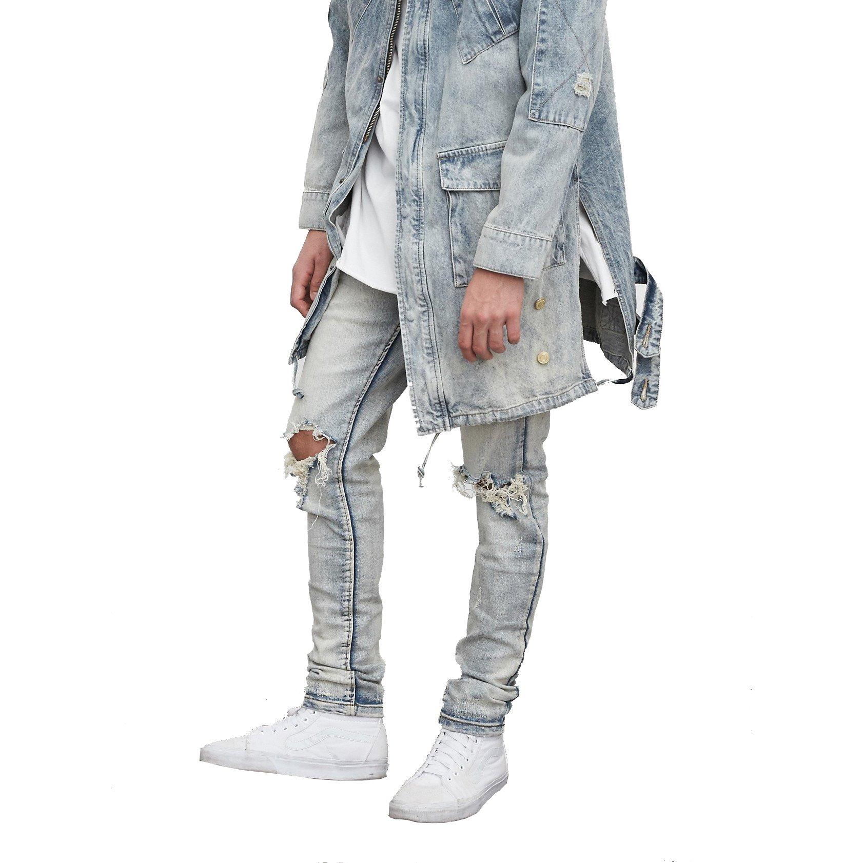 OEM light blue stone washed destoryed denim ripped man blue jean styles