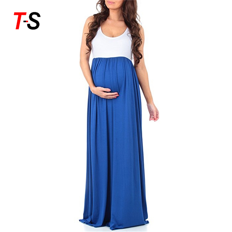 2019 Natural Color Sleeveless Maxi Pregnant Clothing Maternity Long Dress