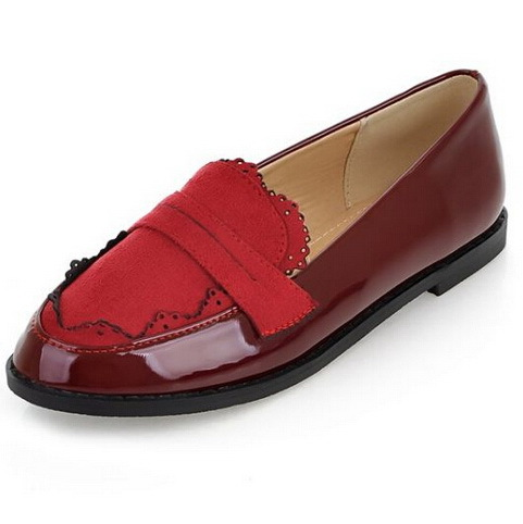 Sapatos Femininos 2014 New Fashion Women Flats PU Leather Women's Oxford Flat Shoes Woman Boat Shoes Black Red size 34-43 DX812