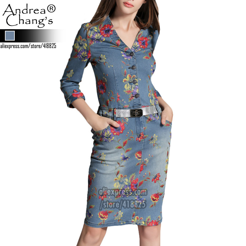 2015 spring autumn designer women's dresses blue denim back ruffle waist red purple flower print silver belt fashion brand dress