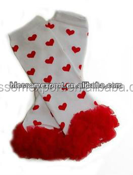 Wholesales red heart Valentines baby leg warmers knitting pattern with red ruffle