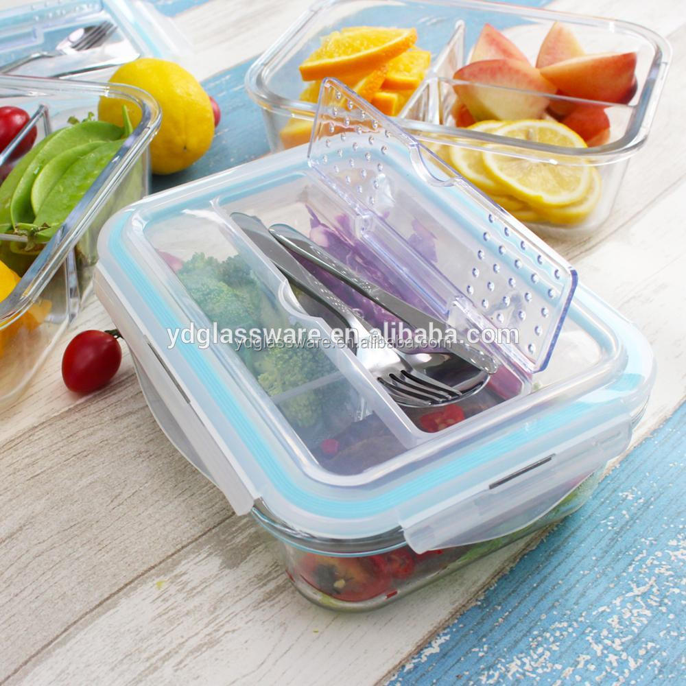 Amazon New High Glass Lunch Box 3 Compartments Meal Prep Glass Food Container with Cutlery Stainless Steel or <strong>Plastic</strong>