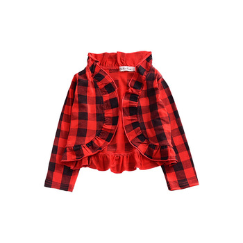 buffalo plaid girls ruffle jackets US Christmas red cloth kids cotton outwears fall coat