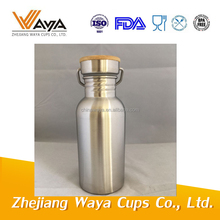 500ml Stainless steel bamboo thermos bottle, bamboo bottle caps