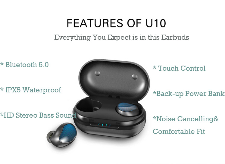 Best Selling  Large Battery  Handfree Mini True Wireless Bluetooth 5.0  Touch Sensor TWS Earbuds  with 1200mAh Charging Case