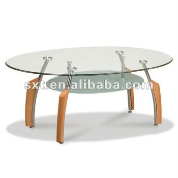 Round Gl Living Room Furniture Wood Center Table