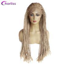 Длинный синтетический парик на кружеве для женщин ручной работы плетеный ящик косички парик Chorliss черный синий косплей парик высокотемпера...(Китай)