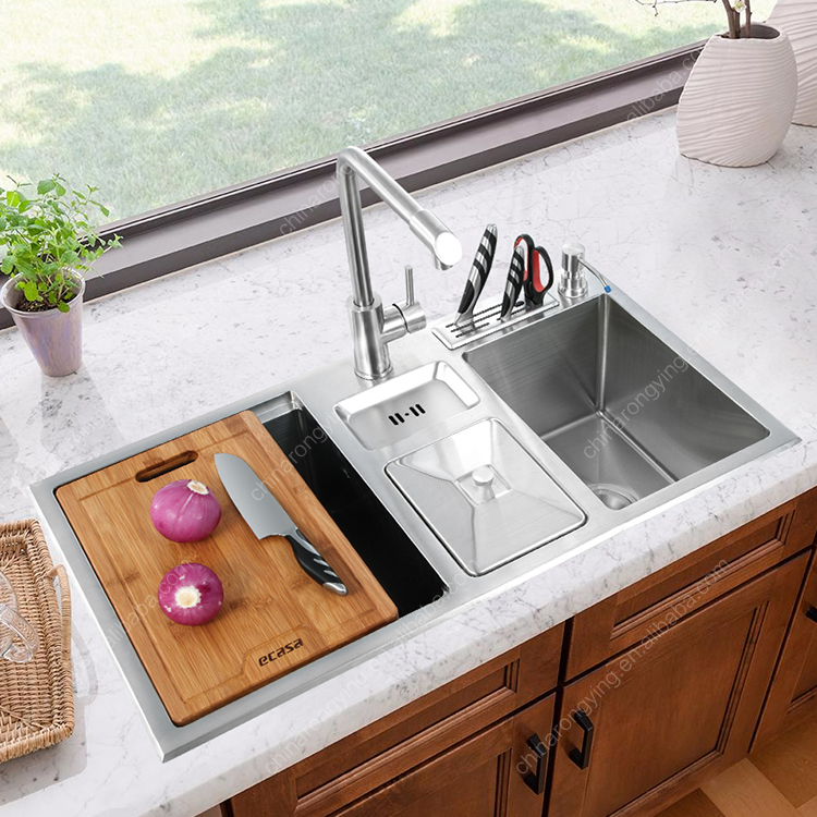 1921r Sink Stainless Steel,Multifunctional Kitchen Sink-double Bowls Round  304 Stainless Steel Kitchen Hand Fabricated Sink - Buy Stainless Steel ...