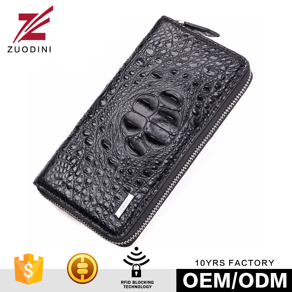 Cool Mens High Capacity Alligator Leather Zipper Business Wallet