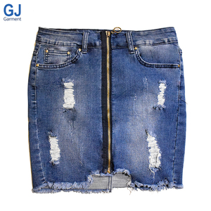 Fashion Zipper Ripped Wholesale Jean Verano Lady Girls Sexy Micro Stretchable Mini Short Pocket Pencil Tight Blue Denim Skirt