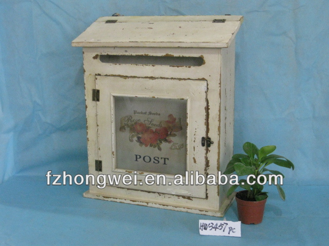 hongwei handmade antique vintage white wooden mailboxletter boxpost box for homegarden decorwall mounted or free standing buy rustic vintage solid