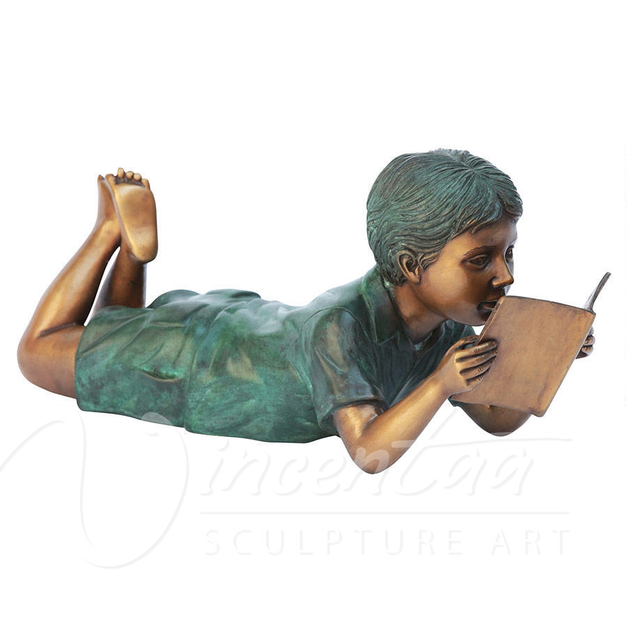 Outdoor metal material decoration art crafts bronze children reading garden statues