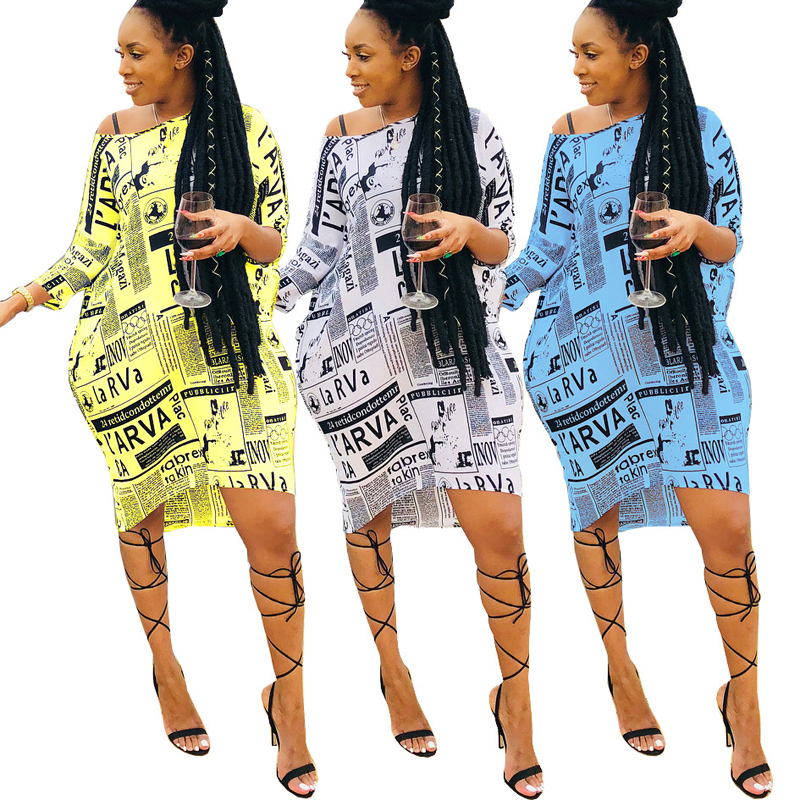 Lady dresses Euramerican fashionable classic newspaper printed sexy inclined shoulder loose new style women shirtdress blouse фото